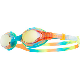 TYR Swimple Tie Dye Mirrored Brille Kinder gold/turquoise